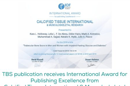 TBS publication receives International Award for Publishing Excellence from Calcified Tissue International & Musculoskeletal Research